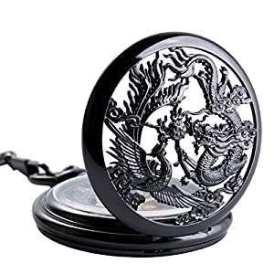 SIBOSUN Antique Half Hunter Hand Wind Skeleton Pocket Watch Mens Mechanical Phoenix and Dragon