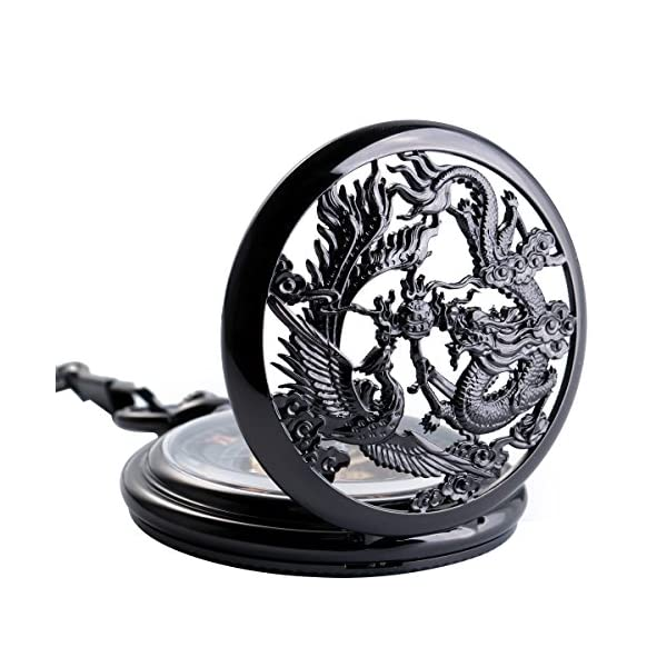 SIBOSUN Antique Half Hunter Hand Wind Skeleton Pocket Watch Mens Mechanical Phoenix and Dragon 3