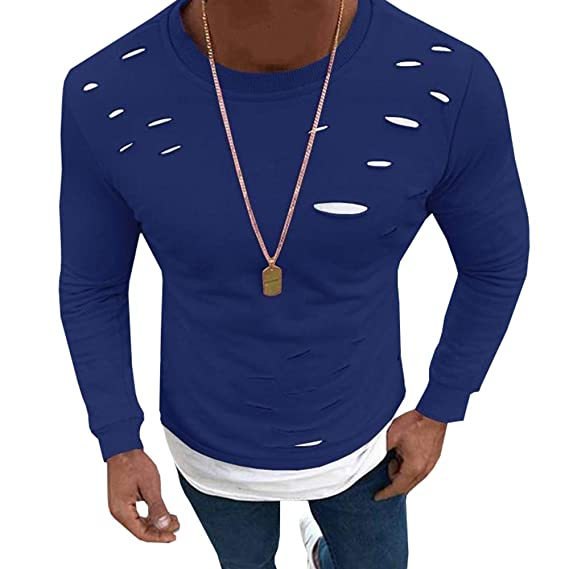 Hooleeger Longsleeve Herren Oberteile Destroyed Slim Fit Basic Sexy Tshirt  mit Rundhals  Amazon.de  Bekleidung 3829119e0d