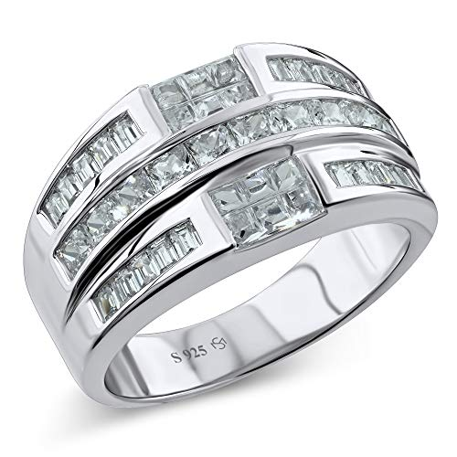 Men's Sterling Silver .925 Ring Band Featuring 32 Baguette and Square Cubic Zirconia (CZ) Stones, Platinum Plated Jewelry