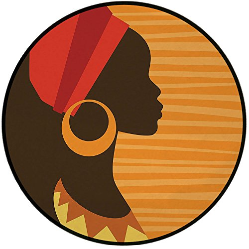 Corvette Round Earring - Printing Round Rug,Afro Decor,Girl Profile Silhouette with Earrings Grace and Elegance Icon Image Mat Non-Slip Soft Entrance Mat Door Floor Rug Area Rug for Chair Living Room,Dark Brown Merigold