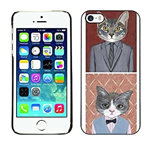 X-ray Impreso colorido protector duro espalda Funda piel de Shell para Apple iPhone 5 / iPhone 5S - Business Cat Funny Cute Pop Art Suit
