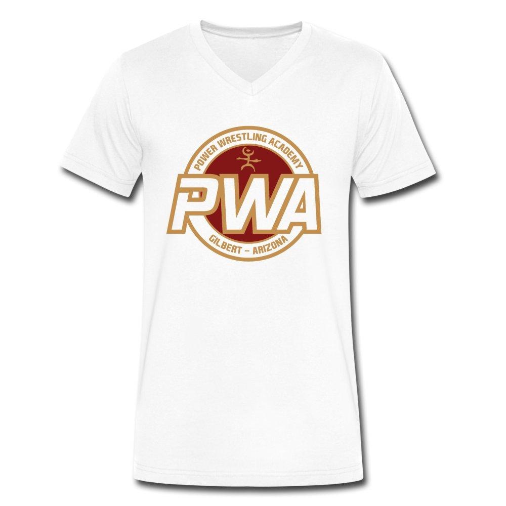 ATHLETE ORIGINALS Men's V-Neck T-Shirt by Cb Dollaway Power Wrestling Academy Pwa Badge S White