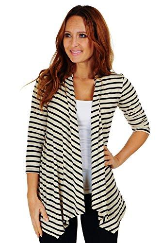 Simply Ravishing SR Women's Basic 3/4 Sleeve Stripe Open Cardigan (Size: Small-5X), 1X, Oatmeal/Black (Short Cardigan Knit Sleeve)