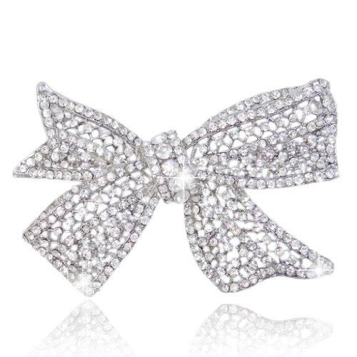 EVER FAITH Delicate Wedding Silver-Tone Bow Austrian Crystal Clear - Tone Brooch Bow