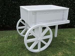 """SamsGazebos Flower Cart Wood Planter Stand, 30""""L x 23-1/2""""H x 22-1/2""""W, White"""