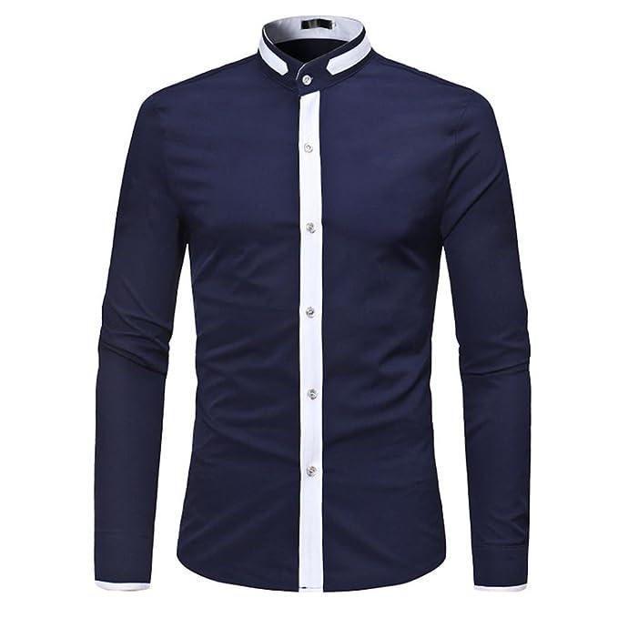 Camisas de Hombre, Camisas de Hombre Slim Patchwork Verano Casual Manga Larga Camiseta Casual Blusa: Amazon.es: Ropa y accesorios