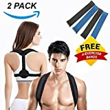 Posture Corrector for Women Men- Upper Back Support Brace, Adjustable & Discreet Cervical Clavical Strap to Improve Bad Posture, Shoulder Neck Back Pain Relief FREE 4 Resistance Bands (Pack 2)