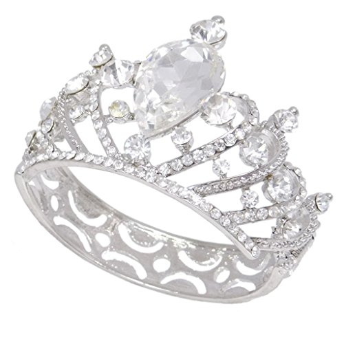 EVER FAITH Bridal Silver-Tone Crown Heart Teardrop Bracelet Clear Austrian Crystal (Bracelet Style Victorian Heart)