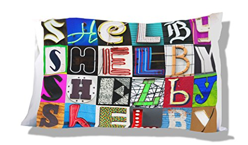 - SHELBY Personalized Name Pillowcase featuring photos of sign letters