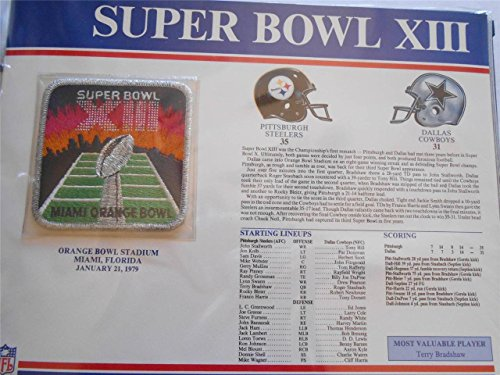 SUPER BOWL XIII 13 Steelers / Cowboys 1979 Willabee & Ward OFFICIAL NFL PATCH CARD (Steelers Super Bowl Patches compare prices)
