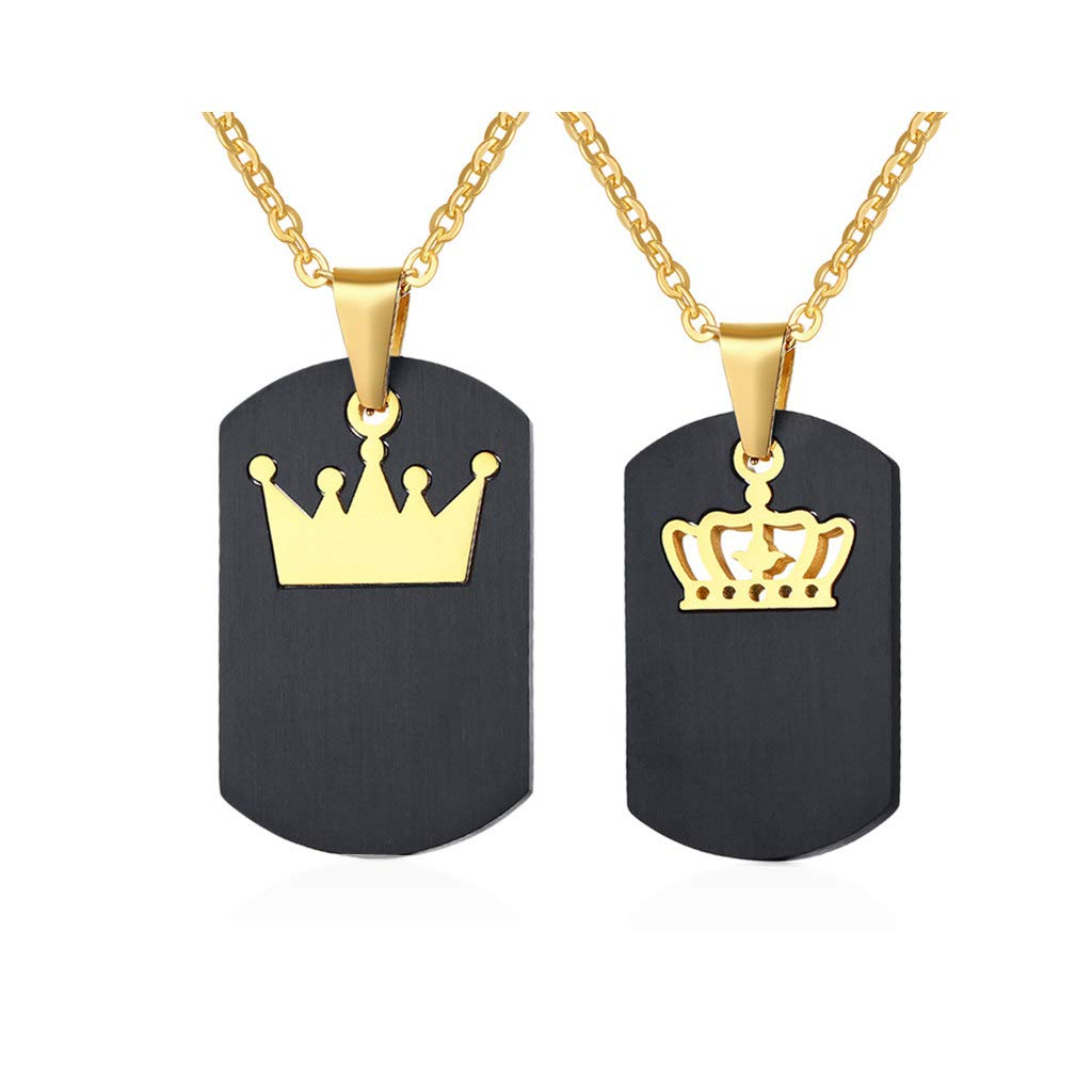 His and Hers 2 Piece Crown Ring Pendant King Queen Crown Pendant Necklace for Engagement Wedding Anniversary Gift Love Promise Necklaces Gifts for Couples Valentine Set