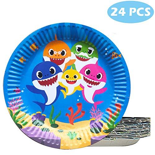(24 Pcs Baby Cute Shark Cake Plates Disposable Plates for Birthday Celebration)