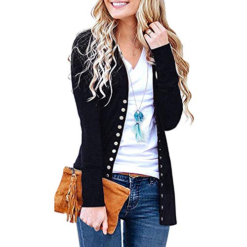 SATINATO Sweaters for Women,Cardigan Sweaters for Women, Long Sleeve Soft Basic Knit Solid Color Cardigan Sweater (Short-Black, S) ()
