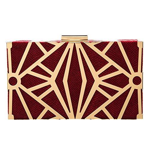 Women Evening Purse Velvet Clutch Bag Exquisite Metal Hollow out Designer Clutch Handbags