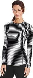 Coolibar UPF 50+ Women\'s Long Sleeve Swim Shirt - Sun Protective (Medium- Black/White Stripe)