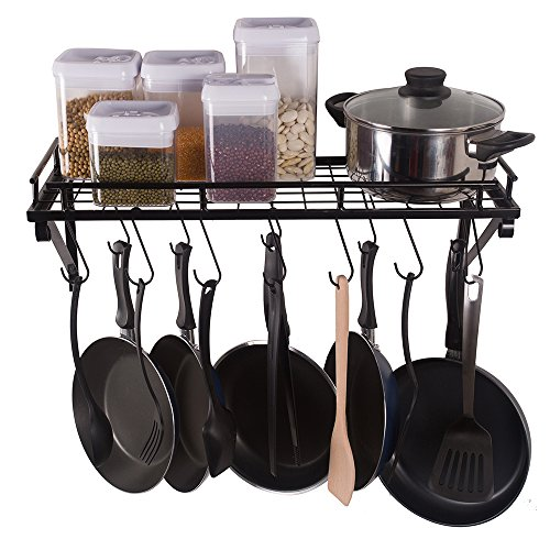 ZESPROKA Kitchen Wall Pot Pan Rack,With 10 Hook...
