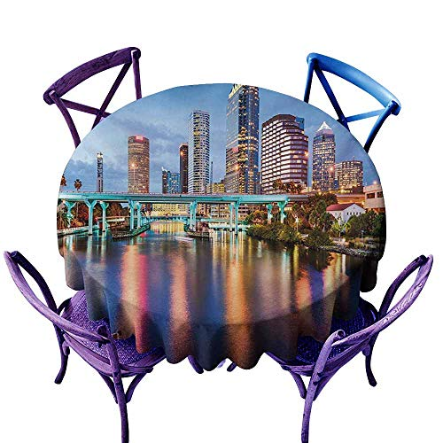 Tablecloth for Kids/Childrens,City Hillsborough River Tampa Florida USA Downtown Idyllic Evening at Business District,Party Decorations Table Cover Cloth,40 INCH,Multicolor -