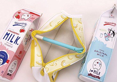 Kawaii Set of 3 Milk Carton Pencil Cases Cosmetic Bag + 3 Carrot Gel Ink Pens