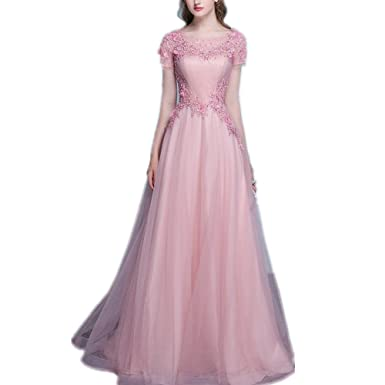 e287c54c118 LeoGirl Womens Floral Lace Embellished Tulle Long Prom Dresses with Sleeves  Gala Evening Formal Gown (