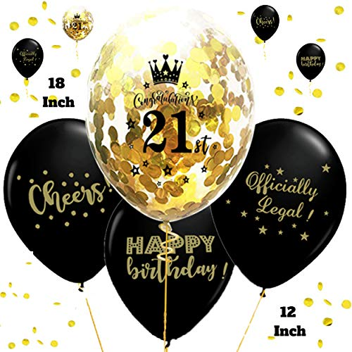 """Otyland Decor 21st Birthday Decorations Set 18 Inch 21st Gold Confetti Balloons & 12"""" Black Number 21 Balloon Happy Bday Kit 21 Queen Crown Tiara 21st Party Supplies Favors Photo Booth/Props/Sign matching 21st rose/pink/blue/red/purple/green/silver/transparent/white/ 21 Sash/Banner/Garland 21st Birthday Balloons 21st Gifts for her/him 21 Year Old Girl/Boy 21st Balloons Gold 21 Decorations for Birthday Party 21 Balloon Helium Finally Legal 21 Champagne Balloon 21st Birthday Gifts Balloons for 21"""
