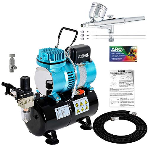 Master Airbrush Cool Runner II Dual Fan Air Tank Compressor System Kit with a Pro Set G222 Gravity Airbrush Kit with 3 Tips 0.2, 0.3 & 0.5 mm - Hose, Holder, How-to Guide - Hobby, Auto, Cake, Tattoo