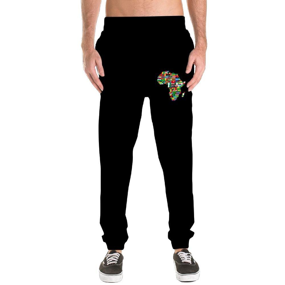 Xianjingshui African Map Men's Jogger Sweatpants Drawstring Elastic Waist Outdoor Running Trousers Pants With Pockets by Xianjingshui