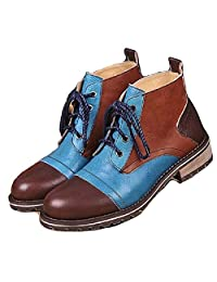 US Size 5-12 Fashion Brown Leather Mens Casual Dress Cap Toe Lace Up Ankle Boots Shoes