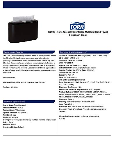Tork Xpress 302028 Countertop Multifold Hand Towel Dispenser, Plastic, 7.92'' Height x 12.68'' Width x 4.56'' Depth, Black (Case of 1) For use with Tork MB550A, MB640, MB540A by Tork (Image #3)