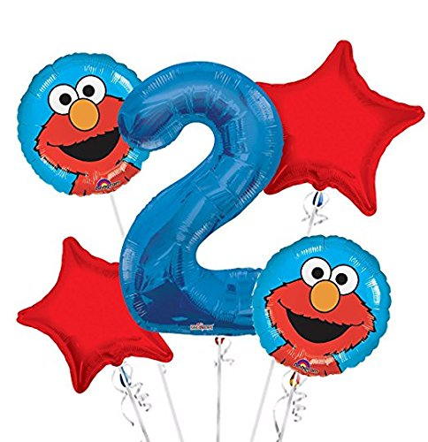 - Sesame Street Elmo Balloon Bouquet 2nd Birthday 5 pcs - Party Supplies