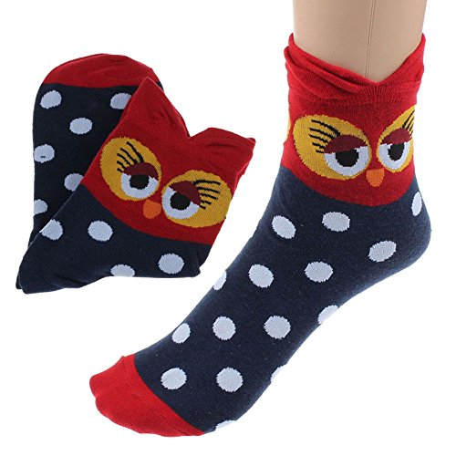 (Vovomay Women Cute Short Socks,Funny Cartoon Cotton Owl Ankle Socks (B))
