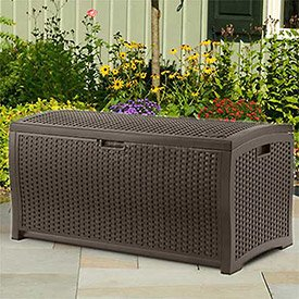 Suncast Wicker Deck Box, Java, 92 Gallon by Suncast