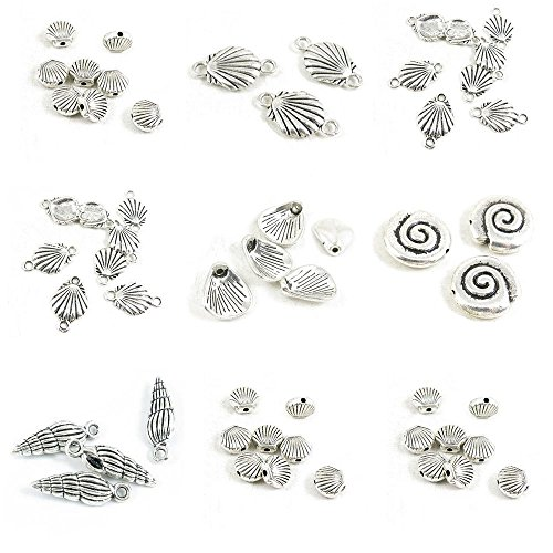 - 55 Pieces Antique Silver Tone Jewelry Making Charms Shell Conch Loose Beads Connector