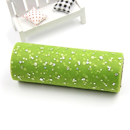 Xiaolanwelc@ 10YardX15cm Glitter Sequin Tulle Roll Crystal Organza Sheer Gauze Element Table Runner&Home Garden/Wedding Party Decoration (Green) from Xiaolanwelc