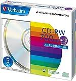 三菱化学メディア Verbatim CD-RW 700MB くり返し記録用 4-12倍速 5mmケース 5枚パック シルバーディスク SW80EU5V1
