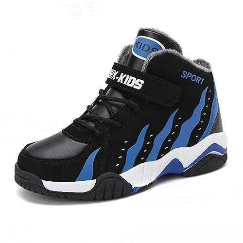 Niños Zapatillas de Baloncesto Superiores con Velcro Moda Infantil Negro para niños Cuero Deporte Otoño Invierno Cálido Zapatillas de Deporte de Felpa ...