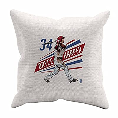 Bryce Harper Outline R Washington DC Throw Pillow