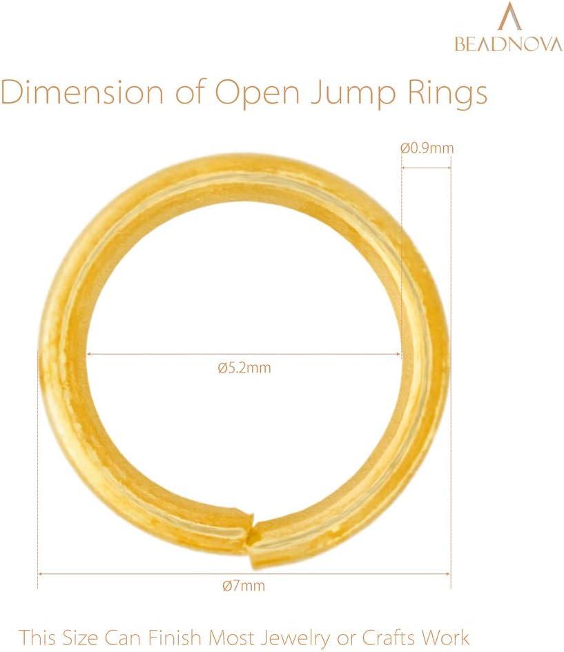 300Pcs BEADNOVA 10mm Open Jump Ring Gold Plated Jewelry Making Jump Ring Metal Jump Ring