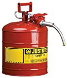 Justrite 7250120 AccuFlow 5 Gallon, 11.75'' OD x 17.50'' H Galvanized Steel Type II Red Safety Can With 5/8'' Flexible Spout