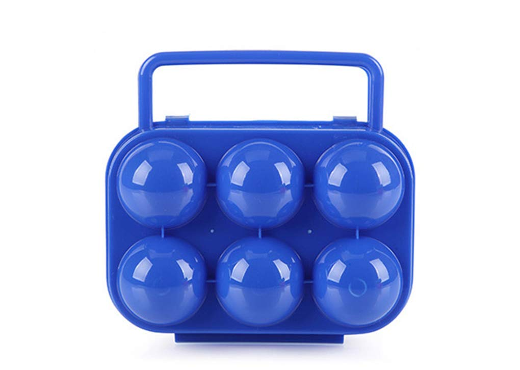 BrilliantDay Portable 6 Eggs Slots Holder Shockproof Storage Box for Camping Hiking - Blue