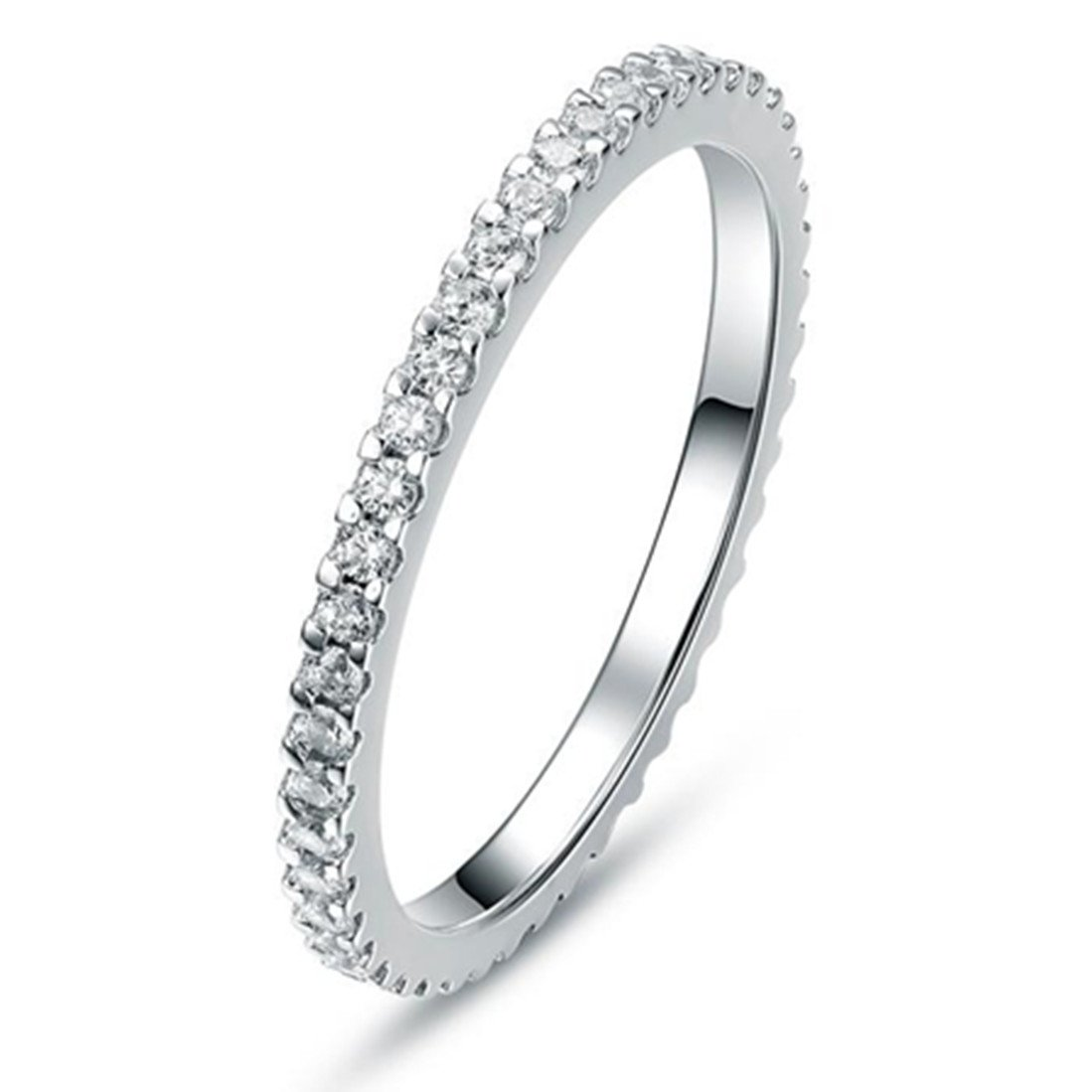 c4c9a7bfe487a THREE MAN 0.55 CT Eternity Ring Wedding Band NSCD Simulated Diamond  Infinity Ring for Women