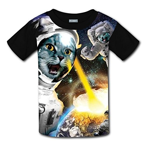 Walking Space Cat Kids 3D Graphic Printed Short Sleeve Tee T shirts Boys Girls Tops XS