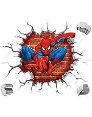 Kibi 3D-effect sticker Spiderman in de muur doorbraak gat Marvel's Spider-Man Ultimate muursticker kinderkamer Spiderman muursticker Spiderman muursticker Spiderman