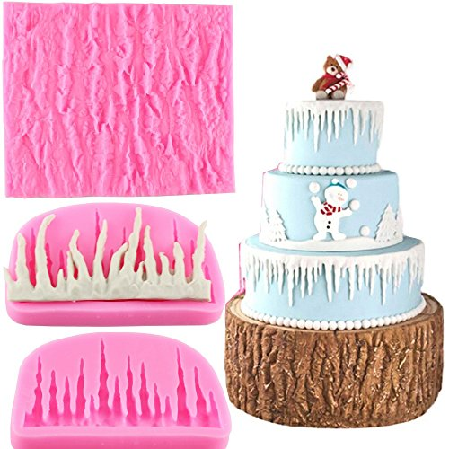 Mujiang Tree Bark Texture Icicle Silicone Lace Fondant Cake Mold Set Of 2 (Tree Lace)