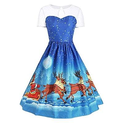kaifongfu Short Sleeve Dress Christmas O Neck Printing Evening Party Dress Women