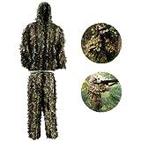 HYFAN Ghillie Suits 3D Foglia Woodland Abbigliamento Mimetico Outdoor Army Military Camo Abbigliamento per Jungle Hunting, Paintball, Airsoft, Fotografia naturalistica, Halloween