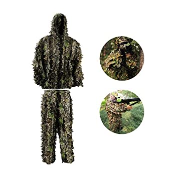 FORWO Ghillie Trajes 3D Hojas Woodland Camuflaje Ropa ...