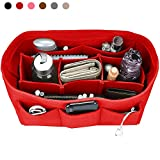 Felt Purse Insert Organizer, Handbag organizer, Bag in Bag for Handbag Purse Tote, Diaper Bag Organizer, Stand on Its Own, 12 Compartments, 3 Sizes (Large, Red)