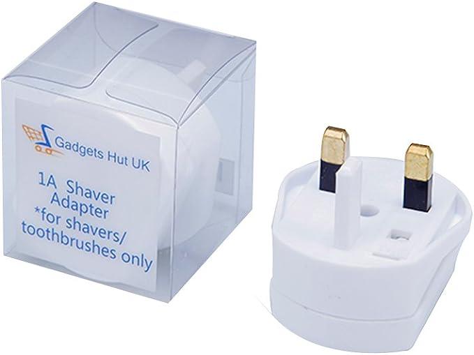 Enchufe adaptador de Gadgets Hut UK, de 2 clavijas a 3 clavijas del Reino Unido, con fusible de 1 amperio, para máquinas de afeitar y cepillo de dientes: Amazon.es: Electrónica