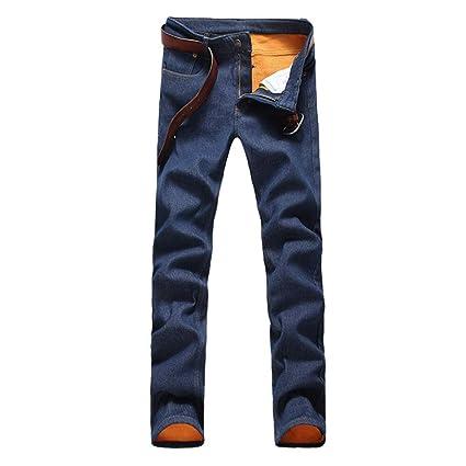 Weentop Pantalones Vaqueros Forrados con vellón para Hombre ...
